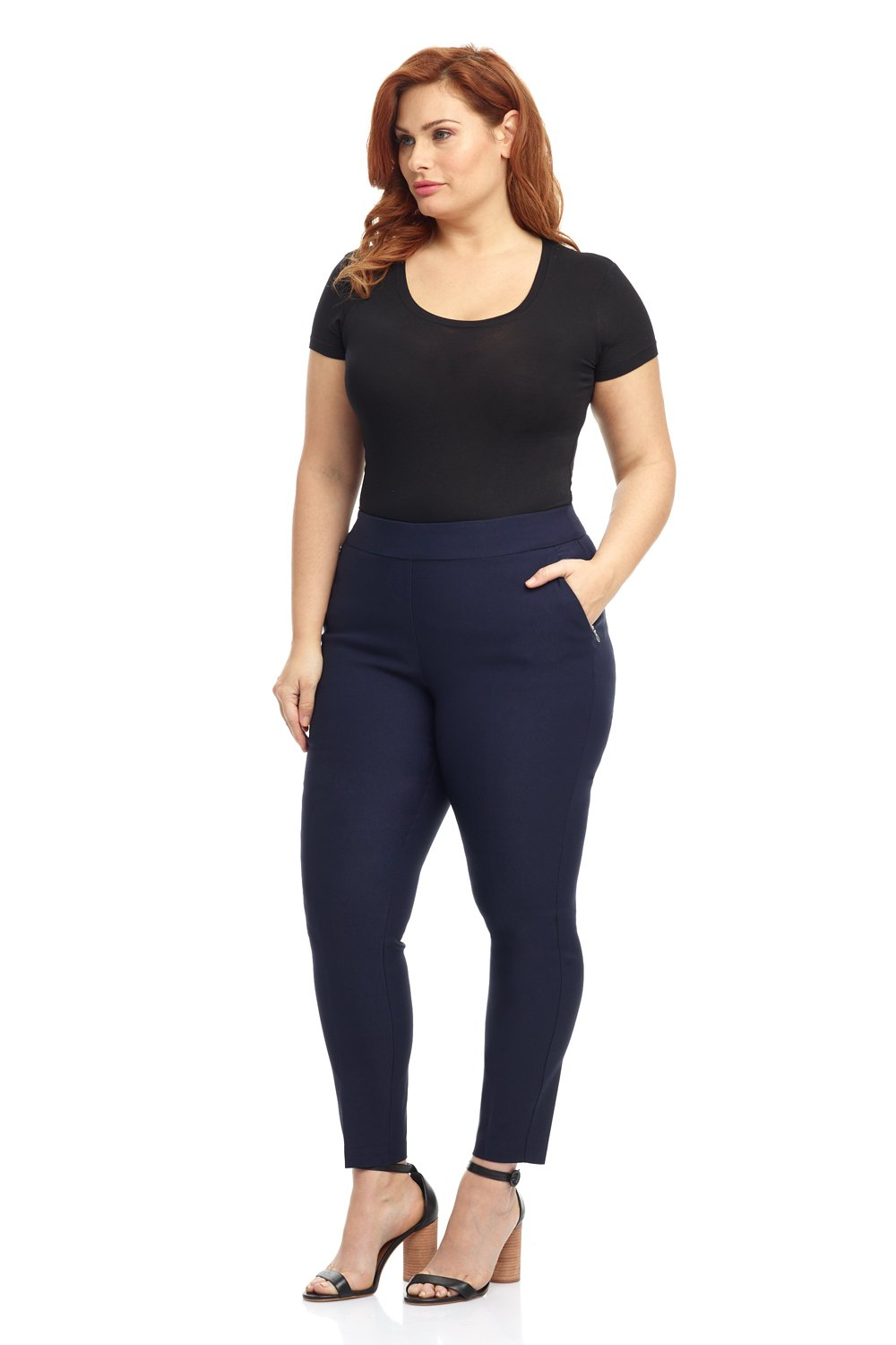 Rekucci Curvy Woman Ease In To Comfort Fit Modern Skinny Plus Size Pant w/Tummy Control (14W,Navy)