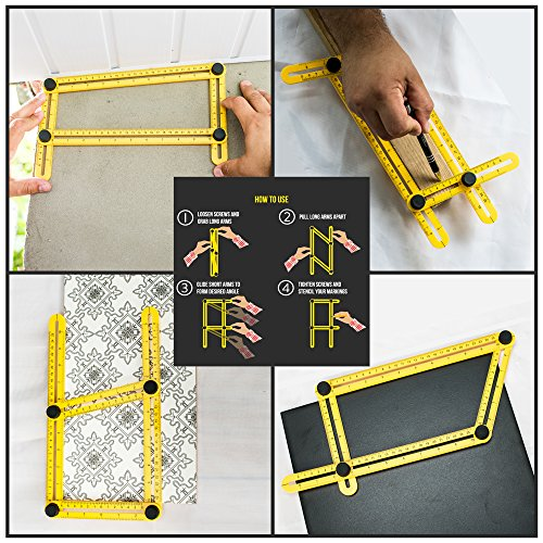 Angularizer Ruler Multi Angle Template Tool Best Gift Measuring Plastic with Metal Threads and Screws by Poco Poca (Image #2)