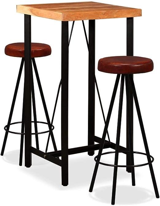 Festnight Set de 1 Mesa de Madera Maciza + 2 taburetes de Piel Mesa Alta Cocina sillas de jardín marrón y Negro: Amazon.es: Hogar