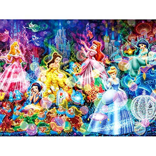5D DIY Diamond Painting Full Square Drill, Ariel Snow White Stained Glass Cartoon Pattern Rhinestone Crystal Embroidery Drawing Gift for Adults Kids,16