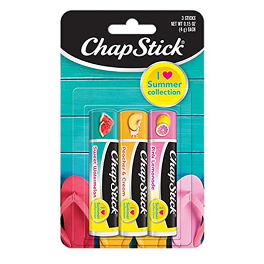 ChapStick I Love Summer Collection Season Flavored Lip Balm Tube, 0.15 Ounce Each (Sweet Watermelon, Peaches & Cream, Pink Lemonade Flavors, 1 Blister Pack of 3 Sticks)