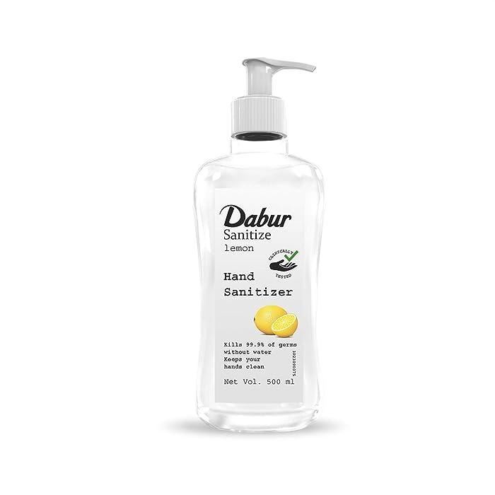 Dabur Sanitize Hand Sanitizer| 60% Alcohol Based Sanitizer (Lemon) - 500 ml