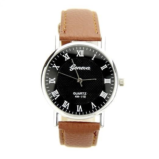 Reloj Geneva piel sintética marrón mujer y hombre My-Montre: Amazon.es: Relojes