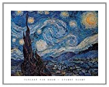 Vincent Van Gogh Starry Night Quality Framed Art Print Silver Frame with Canvas Texture Finish 28 x 22