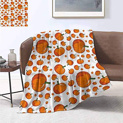 HCCJLCKS Home Throw Blanket Pumpkin Halloween Festival Symbol All Season Blanket W60 xL91 Traveling,Hiking,Camping,Full Queen,TV,Cabin