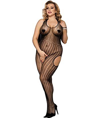 47f6c4e64 Image Unavailable. Image not available for. Color  evershare Women Sexy  Lingerie Fishnet Floral Crotchless Bodystocking ...