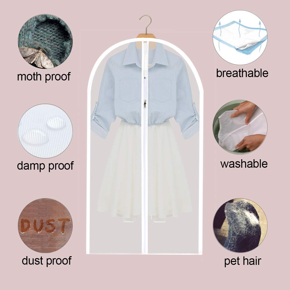 Garment Bag Clear Suit Dress Moth Proof Garment Bags Dust Cover White Breathable Bag with Full Zipper for Clothes Closet Storage Pack of 6 by homebags (Image #3)