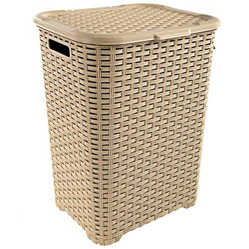 Wäschekorb in Rattan Optik 60 Liter -atmungsaktiv- mit offen gestalteter Struktur in 4 verschiedenen Farben (Creme)