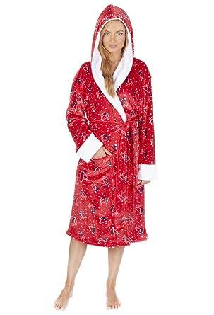 Women s Soft Hooded Fleece Bathrobe 9fcc1eff5