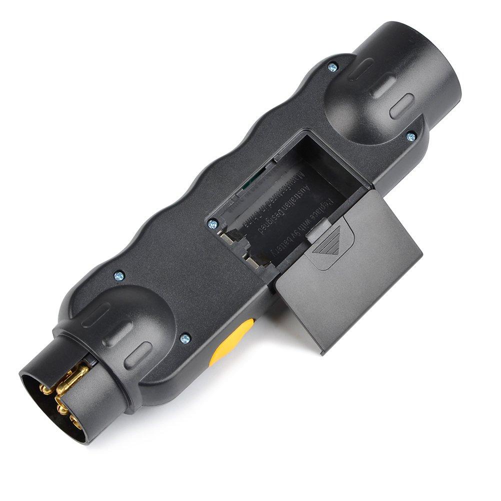 QLOUNI 12V Comprobador de Enchufes Remolques Probador del cable del alumbrador del encendedor de 7 Pin del probador de la luz del remolque