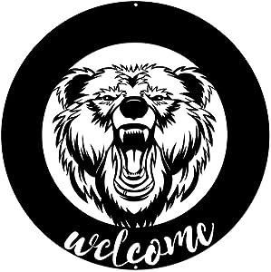 "ArtBones Bear Metal Wall Art Welcome Sign Cabin Decor Boys Bedroom Home Decoration 24x24"""