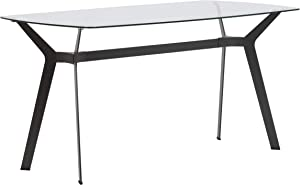 """Studio Designs Home Archtech 60"""" W x 32"""" D Mid-Century Modern Dining, Desk, Metal and 8mm Thick Glass Table in Pewter Gray"""