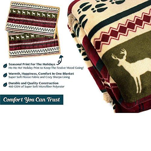 PAVILIA Premium Christmas Blanket Sherpa Fleece Throw| Plush Christmas Decoration, Reindeer, Cozy Reversible Winter…