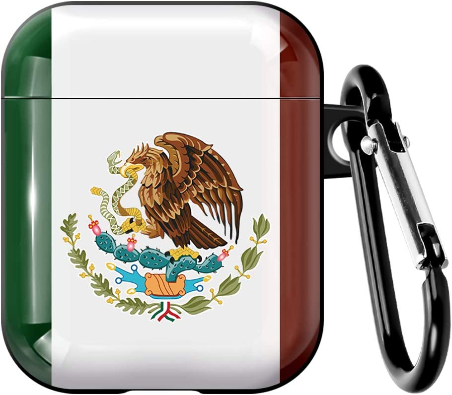 Mexico Mexican Flag AirPods Case with Keychain Designed Compatible with Apple AirPods 1 & 2- Silicone Skins - Protects- Shock-Absorbing Protective Case (Mexico Flag)