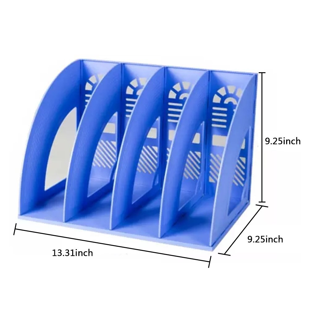 Whthteey 4 Compartment Desktop File Organizer Basket Plastic File Holders for Home Office School Blue by Whthteey (Image #6)