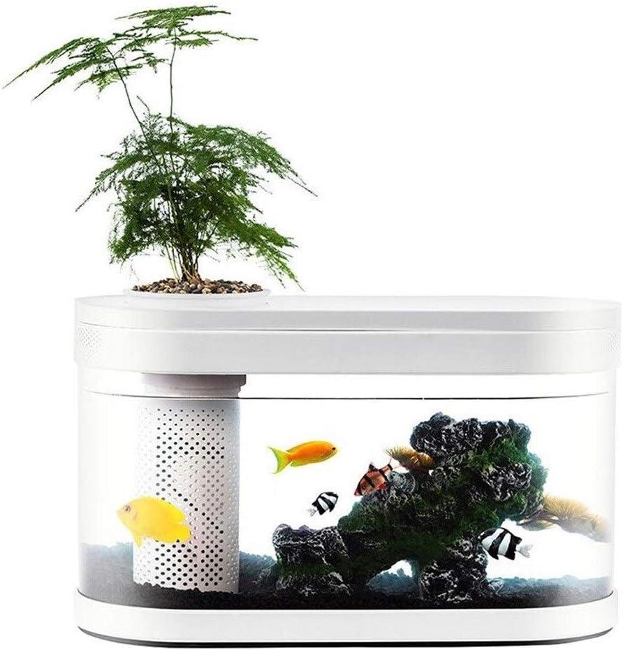 Aquarium Starter Kits Creative Personality Glass Fish Tank Aquarium Living Room Office Smart Aquarium Indoor Decoration Gift Small Fish Tank with LED Lights, Silent Filter Fish Tank Goldfish Tank