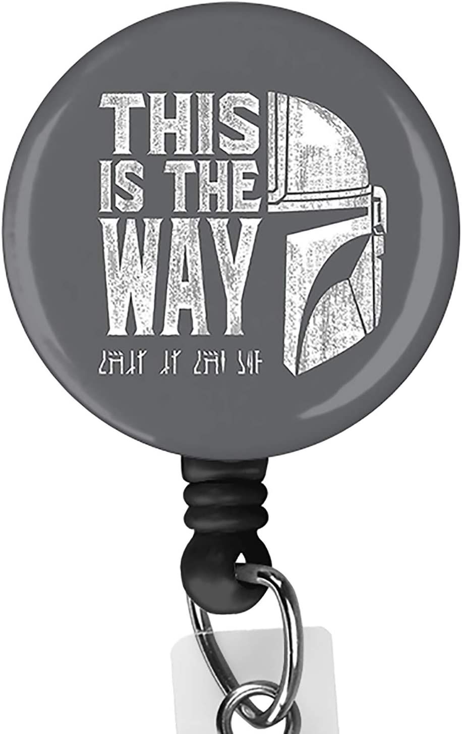 This is The Way Mandalorian Retractable ID Card Badge Holder with Alligator Clip, Name Nurse Decorative Badge Reel Clip on Card Holders