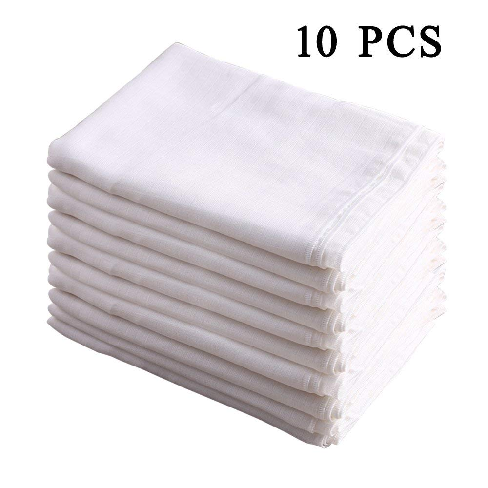 100% Cotton Burp Cloth Prefold Diapers Cover White 10 Count 52X70CM by Busy Mom