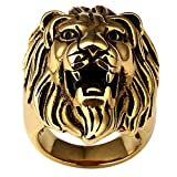 gold lion head ring - Men's Stainless Steel 18K Gold Plated Hip Hop Ring 3D Lion King Head Rings, Size 7