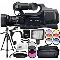 JVC JY-HM70 PAL HD Camcorder 14PC Accessory Bundle – Includes 64GB SD Memory Card + 3PC Filter Kit (UV + CPL + FLD) + 6PC Graduated Filter Kit + MORE