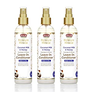 African Pride Moisture Miracle Coconut Milk & Honey Leave-In Conditioner (3 Pack) - Refreshes & Softens Natural Coils & Curls, Hydrates & Shines, 8 oz