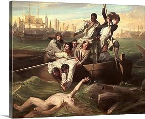 "GREATBIGCANVAS Watson and The Shark, by John Singleton Copley, 1778"" Canvas Wall Art Print, 45""x36""x1.5"""