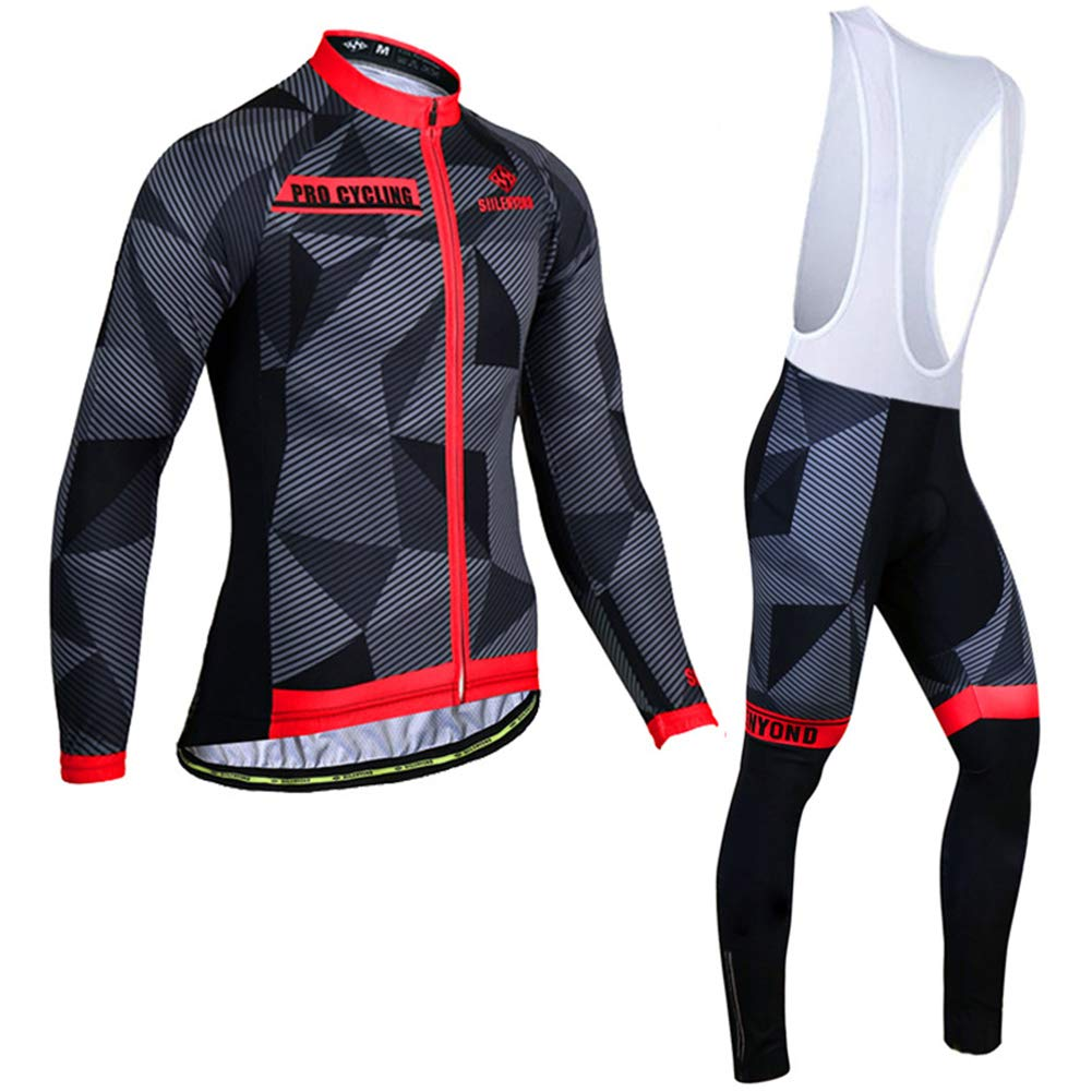 HnjPama Pro Team Autumn Unisex Men's Long Sleeve Cycling Jersey Set Bib Pants Cycling Jersey Black&Red S by HnjPama