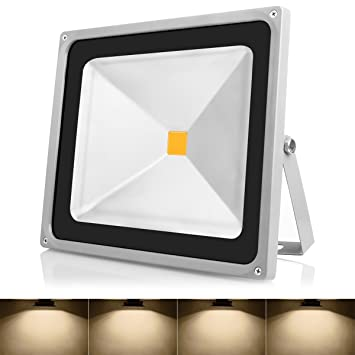 Amazon warmoon outdoor led flood light 50w warm white 3200k warmoon outdoor led flood light 50w warm white 3200k waterproof security lights with 3 mozeypictures Image collections