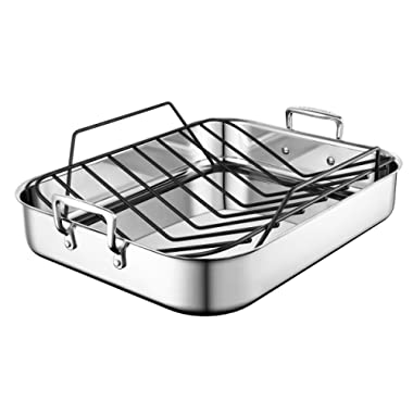 Le Creuset SSC8612-40P Stainless Steel Large Roasting Pan with Nonstick Rack, 16.25  x 13.25