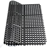 Hefty Mat Interlock Rubber ma, Large Kitchen,Matting for Senior Hotel Kitchen,Bath,Workshop,and Other Area, Black, 3 feet ×3 feet ×1/2 inch