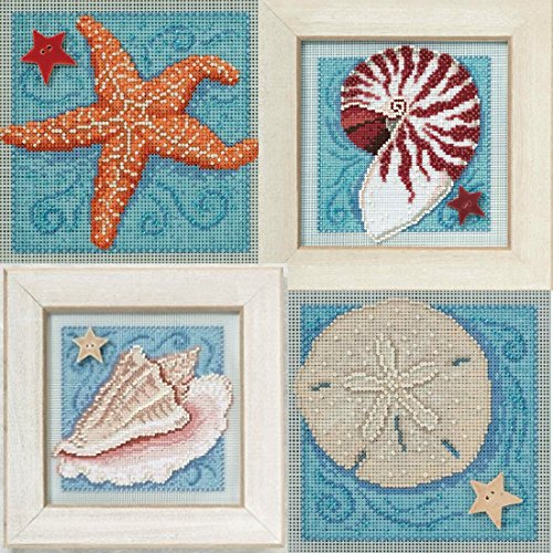 Beaded Counted Cross Stitch 4 Kit Bundle: Starfish, Nautilus Shell, Conch Shell, Sand Dollar