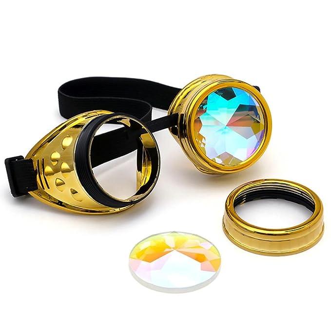 Gaddrt Kaléidoscope verres colorés rave Festival Party EDM lunettes de soleil diffracté Lens (Doré) CdmOTHIO