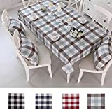 country kitchen tablecloths Queenie - 1 Pc Country Style Checkers Plaids Cotton Linen Table Cloth Available in 4 Colors and 5 Sizes (Brown & Blue, 43 x 63 inch (110 x 160 cm))