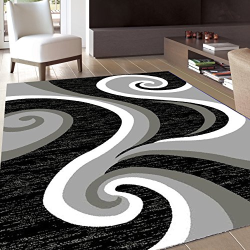 Msrugs Area Rug Classy Traditional Designs Perfect for Living Room and Kitchen, Indoor or Home in Clearance, 5' L x 7' W, Black Grey - Zebra 5x8 Area
