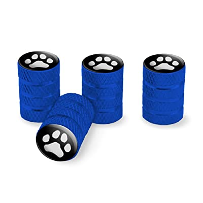 Graphics and More Paw Print Dog Cat White on Black Tire Rim Wheel Aluminum Valve Stem Caps - Blue: Automotive