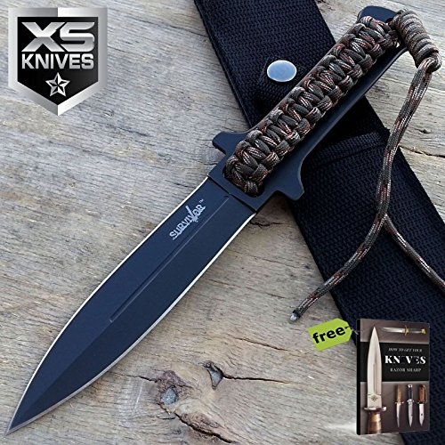 "10.5"" Black Double Edge Dagger Stainless Steel Spear Full Tang Fixed Blade Carbon Steel Razor Sharp Tactical Fixed Blade Knife + Free eBook by SURVIVAL STEEL"