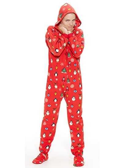 Amazon.com: Footed Pajamas - Holly Jolly Christmas Adult Hoodie One Piece: Clothing