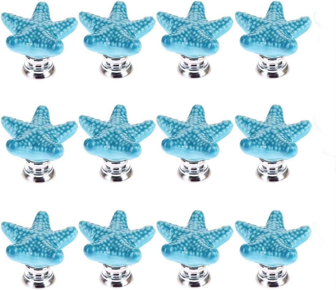 SCTD Ceramic Starfish Drawer Pulls Handles for Nursery Dresser Cupboard Wardrobe Cabinet Kitchen, Beach/Ocean Theme Knobs, Pack of 12 (Blue New)