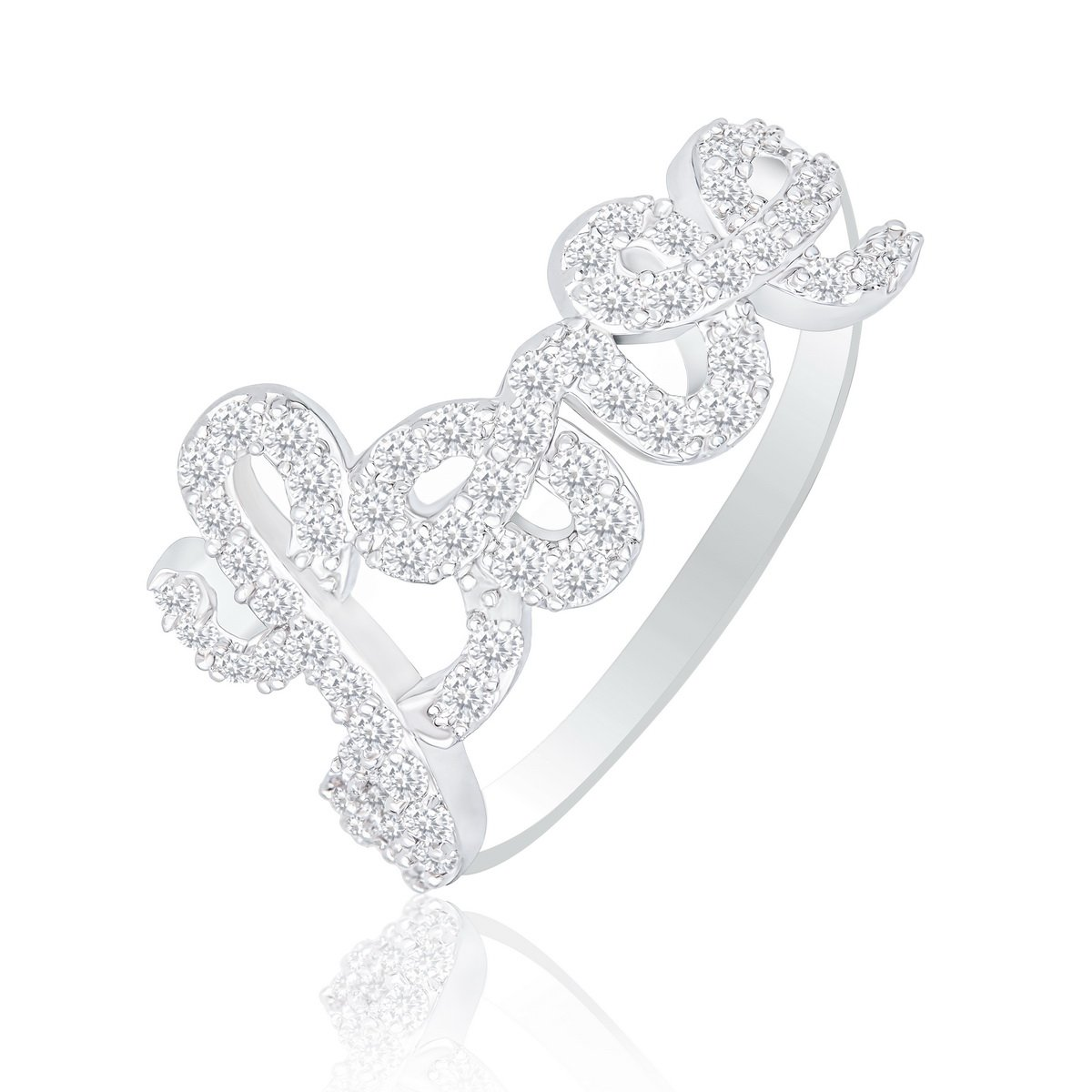 ORROUS & CO Women's 18K White Gold Plated Cubic Zirconia Love Ring