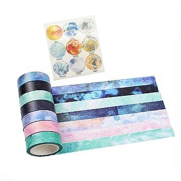 amazon com washi tape set of 7 rolls natural galaxy water color aurora decorative diy japanese masking adhesive sticky paper washi tape set width 15mm