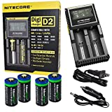 4 Pack EdisonBright EBR65 type 16340 RCR123A 3.7v rechargeable protected li-ion 650mAh batteries w/ Nitecore D2 digicharger home/car battery charger bundle for Arlo, Reolink