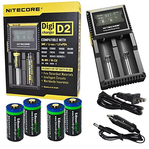 4 Pack EdisonBright EBR65 type 16340 RCR123A 3.7v rechargeable protected li-ion 650mAh batteries with Nitecore D2 digicharger home/car battery charger bundle (Protected Rcr123 compare prices)