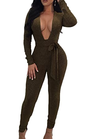 e8006e12b492 Amazon.com  ioiom Women Glitter Deep V Neck Long Sleeve Bodycon Jumpsuit  Belted Romper Pants  Clothing