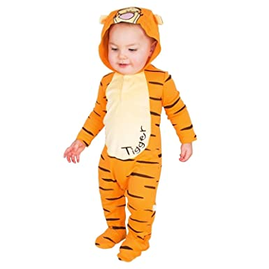 ed82582705d9c 6-9 Months - Baby Disney Winnie the Pooh Tigger Jersey Romper with Hood  Travis