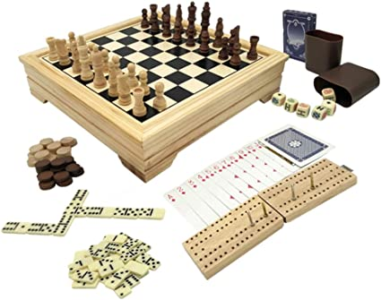 cards Backgammon Checkers Game set with Chess Domino Gift in honor of a birthday