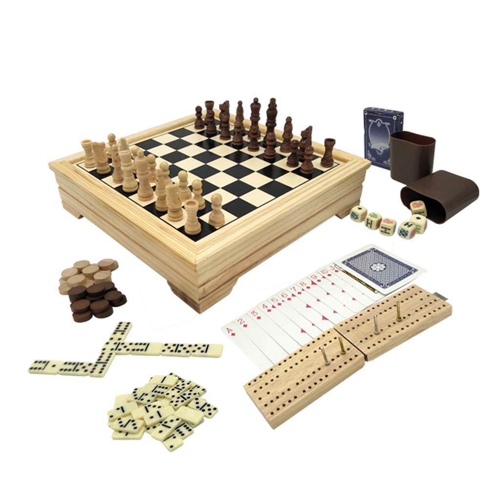 Deluxe 7 in 1 Board Game Set - Chess Set, Checkers, Backgammon, Dominoes, Playing Cards, Poker Dices and Cribbage - by KAILE