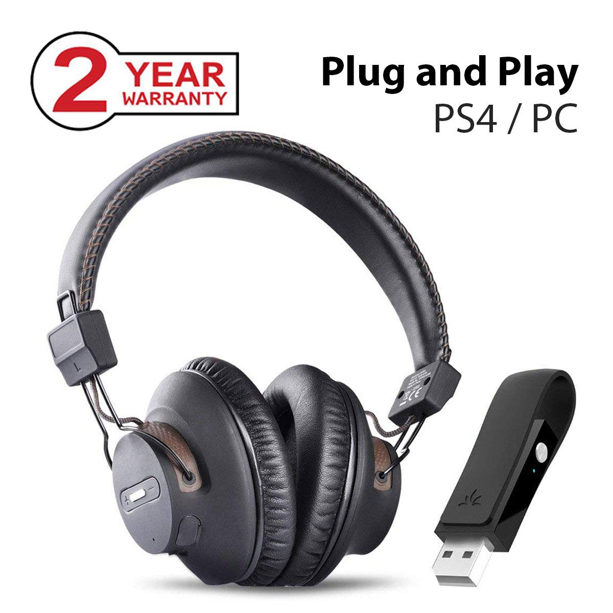 Avantree DG59 Auriculares Inalámbricos PS4 Gaming con Bluetooth USB Transmisor de Audio para PC, Ordenador de Sobremesa, Plug and Play, Llamadas y Música ...
