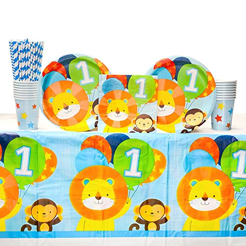 One is Fun! Boy's Birthday Party Supplies Pack for 16 Guests | Straws, Dinner Plates, Luncheon Napkins, Cups, and Table Cover | Cute 1st Birthday Boy Decorations | Great for Baby First Birthday Party