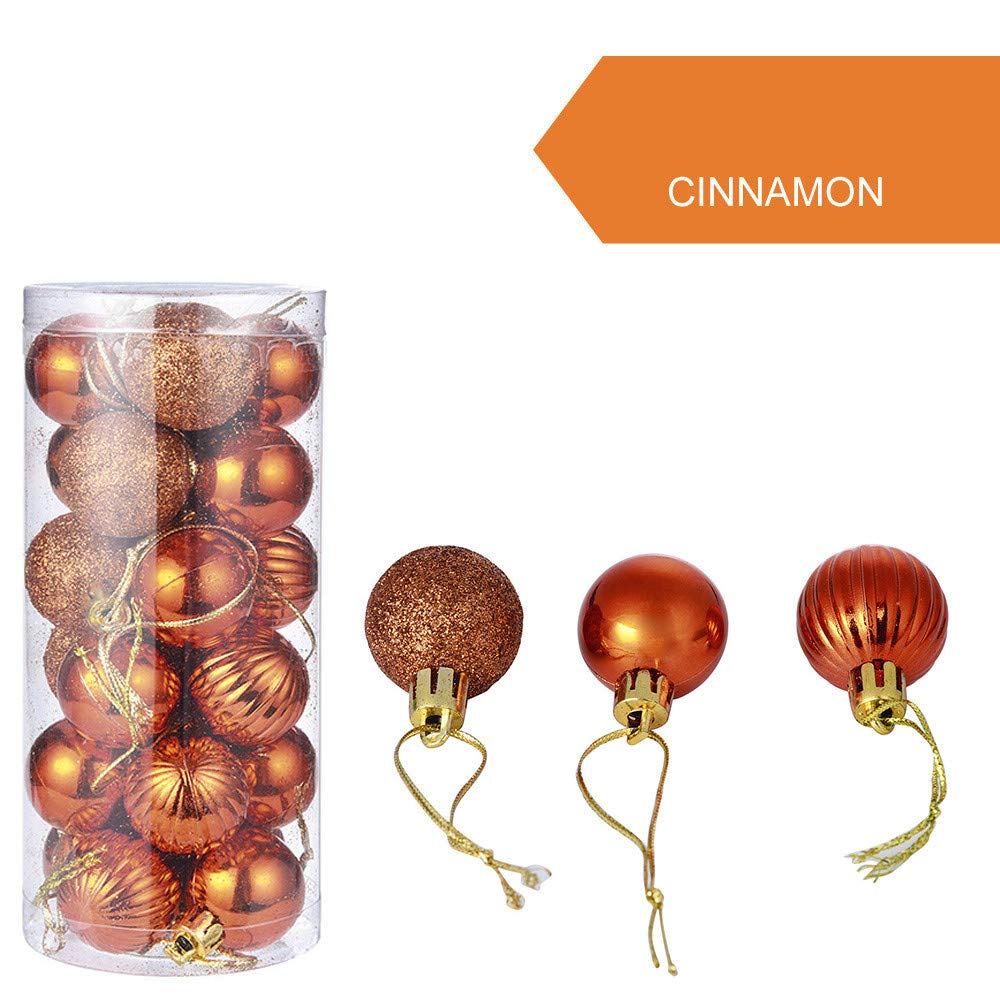 WEEKEND SHOP Christmas Ball Ornament 30mm Christmas Xmas Tree Ball Bauble Hanging Home Party Ornament Decor24Pcs 30mm Christmas Xmas Tree Ball Bauble Hanging Home Party Ornament Decor Orange