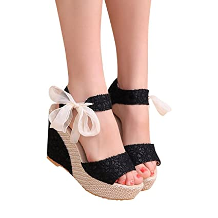 fc85de90ba96 Haoricu Shoes Women Ladies Wedge Espadrille Open Toe Rome Sandals Platform  Summer High Heel Shoes (